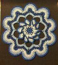 New listing Blooming Flower Crochet Doily - Antique White and Blues