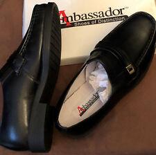 New In Box Ambassador Black Leather Dress Loafer Shoes Buckle Mens Sz 8 Medium