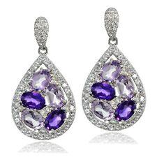 925 Silver African Amethyst, Amethyst & Topaz Teardrop Cluster Tonal Earrings