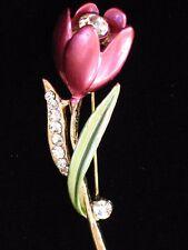 "PINK GREEN RHINESTONE CROCUS LILY ROSE TULIP FLOWER PIN BROOCH JEWELRY 2.25"" 3D"