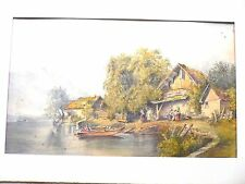 Large Watercolour. Lake and Mountains with Country Houses. Lake Como in Italy?