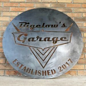 Vintage 1950's Garage Sign - Personalized Metal Wall Art - Dad Man Cave, Classic