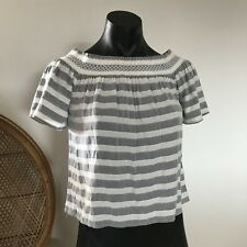 Forever New Striped Off The Shoulder Top Cute Boho Summer Short Sleeve