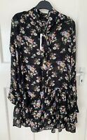 ZARA BLACK FLORAL PRINTED SEMI SHEER TUNIC DRESS WITH TIED BOW SIZE S BNWT