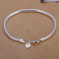Fashion 925 Sterling Silver 3mm Snake Chain Bracelet Jewelry Men Women Luck Gift