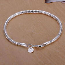 925 Sterling Silver 3mm Snake Chain Bracelet Men Women Fashion Jewelry Luck Gift