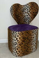 Heart Shaped Vanity Chair Cheetah Print Makeup Chair Purple