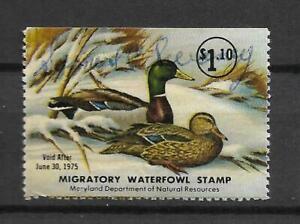 U.S. -  Maryland State Duck Stamp - Used - Scott#:  1