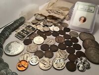 Old US Coin Collection 1800'S COINS, BU 90% SILVER COINS, .999 SILVER 60+ COINS