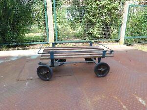 kleiner Handwagen aus Metall und Holz, DDR Rollfix, RAW Dresden, ohne Deichsel