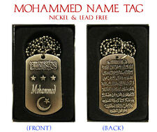 """Mahoma"" para hombre nombre árabe Collar Tag-Padres islámica Eid Regalos Para Él"