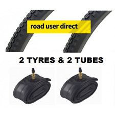 2 x 27x1 1/4 Black Tyres & 2 x Inner Tubes - Presta Valves - Free Delivery