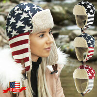 USA Flag America Aviator Trapper Hat Winter Cap Ski Warm Fur Cap