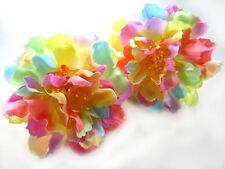 "2 Artificial Silk Light Rainbow Peony Flower Heads 4"" for Home Wedding Make Clip"