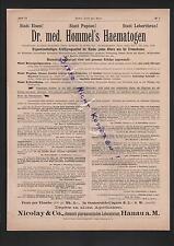HANAU, Werbung 1898, Nicolay & Co. Chem-Pharmazeutisches Labor Dr. med. Hommel