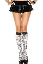 Schwarz + Weiß Zebramuster Gestreift Tiermuster Kniehoch Damen Sexy Socken P5646