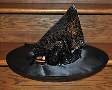 Halloween Adult Witch Hat Black with Spider & Web Costume Accessory Party NEW
