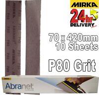 Mirka Abranet 70x420mm P80 Grit 10x HookNLoop Dust Free Sanding Abrasive Strips