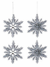 4 x Pewter Snowflake Christmas Baubles Pewter Christmas Tree Decorations 12cm