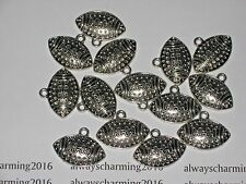 """13 - """"LARGE FOOTBALLS"""" -  SILVER FOOTBALL CHARMS FOR JEWELRY"""