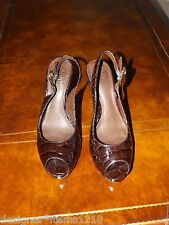 Tory Burch Brown Leather Peep-toe Sandals Pump Shoes 8