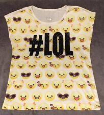 JUSTICE #LOL Emoji Girls Sleeveless Tee Size 14