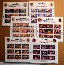 All 6 full MNH United Nations 1996 UNICEF sheets. Face Value $36 +