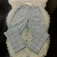 NWT Vera & Lucy Bella Black White Grey Check Pull On Trouser Pants Sz M