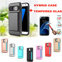 Hybrid Rubber Case Back Cover + Tempered Glass Film For Samsung Galaxy S7 edge