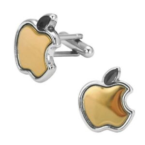 Apple Silver and Gold Cufflinks Gift Wedding Formal Wear Suit Shirt Business
