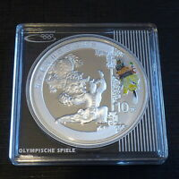 China 10 yuan 2008 Beijing Olympics LION DANCE colored Proof silver 999 1 oz