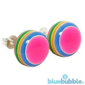 Bluebubble RETRO RAINBOW Neon Stripey Earrings Kitsch Funky Fun Festival 80s 90s