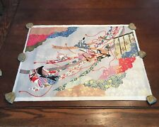 Art Print Japanese Art Geisha on Linen Colorful Unframed multicolor