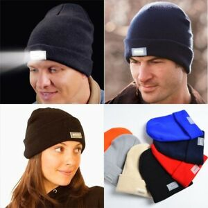 Womens Mens 5 LED Light Cap Hat Winter Knitted Beanie Hunting Camping Fishing