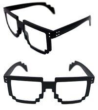 Men's Women's 8 Bit Tetris Pixel Glasses Clear Lens Eye Glasses Matte Black
