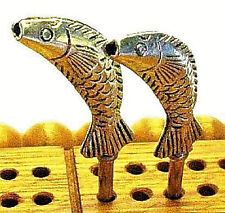 "Cribbage Pegs, 2 ""Leaping Fish"" Quality Tibetan Silver Metal, Velvet Bag, USA  a"