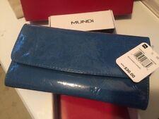 MUNDI Aqua blue Shiny Croc Wallet Credit Card organizer Zipper money