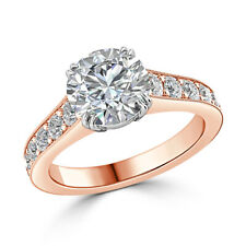 14k Solid Rose Gold Rings 2.25 Ct Solitaire Round Diamond Wedding Ring Size 6