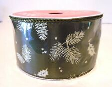 10 Yds Olive Green Pine Cone 2 1/2 Inch Wired Ribbon Craft Christmas Decoration