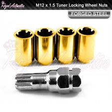 Gold Tuner Locking Wheel Nuts M12x1.5 Honda Mazda Ford Toyota Mitsubishi Lexus