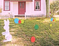 Easter Egg Lawn Ornaments Wooden Yard Stakes Easter Decorations Small Orange Egg