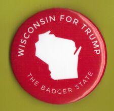 """2016 Donald Trump 2.25""""/ """"Wisconsin - Red"""" Official Presidential Campaign Button"""