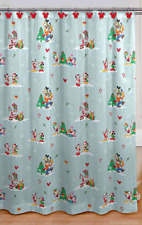 Disney Mickey Mouse and Friends Christmas Fabric Shower Curtain with Hooks New