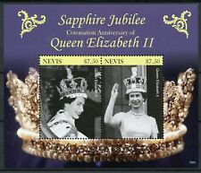Nevis Royalty Stamps 2018 MNH Queen Elizabeth II Coronation Sapphire 2v S/S