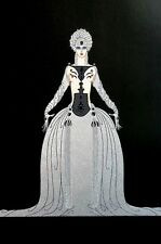 Erte 1987 KISSING Lady in GRAY PEARL BALL GOWN Matted Art Deco Fashion Print