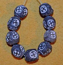 African Handmade Black Clay Beads W Stamped Eye Designs Made In Ghana, Africa