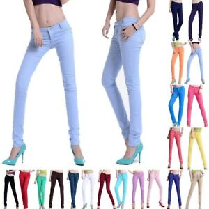 Womens Pencil Stretch Casual Cotton Blend Skinny Jeans Pants Mid Waist Trousers