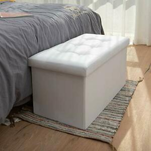 Ottoman Bench with Storage Ottoman for Room Folding 30x15x15 inches White
