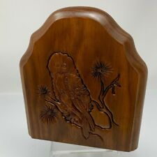 Vintage Bookend Owl In Tree Single Bookend Carved Wood & Metal Taiwan