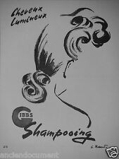 PUBLICITÉ 1943 CHEVEUX LUMINEUX GIBBS SHAMPOOING - ADVERTISING
